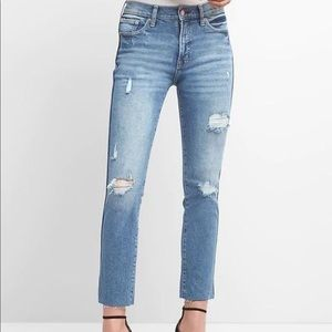 High Rise Destructed Slim Straight Jeans